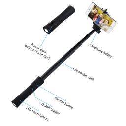 e16a2f14144ea4 3-in-1 Bluetooth Selfie-Scope, Powerbank, Bluetooth Selfie Stick, LED Torch  Promotion