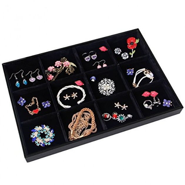 Valdler velvet stackable 12 grid jewelry tray showcase for Velvet jewelry organizer trays