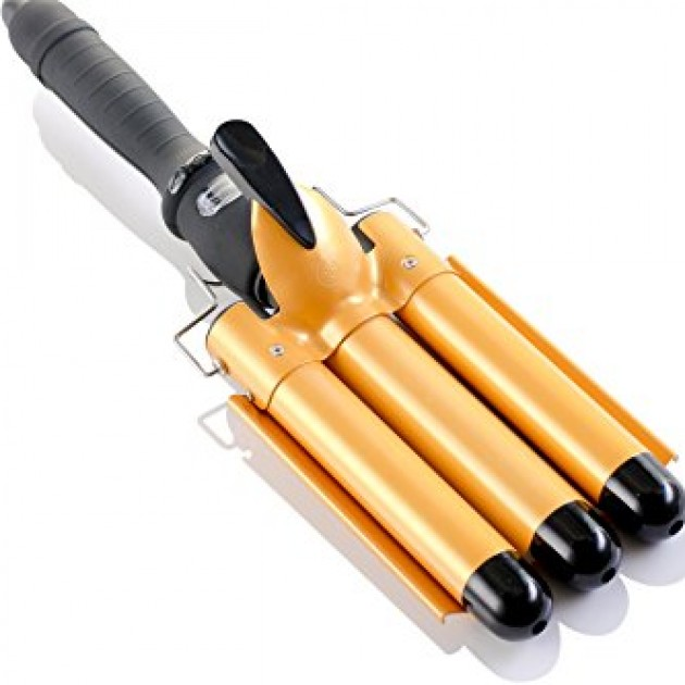 Ad041 Alure Three Barrel Curling Iron Wand With Lcd