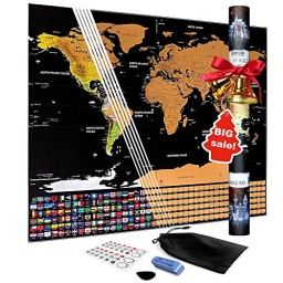 Scratch off world map poster travel tracker map with country scratch off world map poster travel tracker map with country flags promotion gumiabroncs Image collections