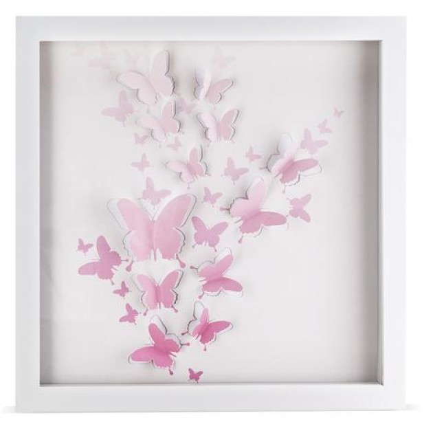 Pink Butterfly Wall Decoration : Pink butterfly artwork girls room d?cor bathroom