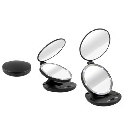 double sided 1x 5x magnifying travel makeup mirror with. Black Bedroom Furniture Sets. Home Design Ideas