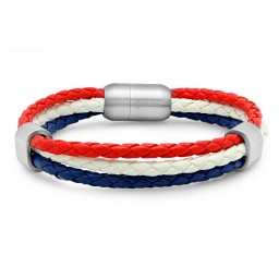 Steeltime Genuine Leather Patriotic Bracelet With Stainless Steel Magnetic Clasp Promotion