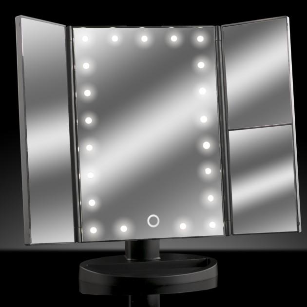 Ad042 Asani Tri Fold Lighted Magnification Makeup Mirror W