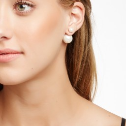 Double Sided Giant Magnetic Human Body Set: STEELTIME Stylish Double Sided Tribal Pearl Earrings