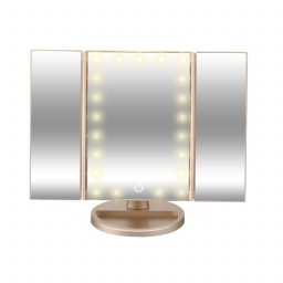 Ad015 Tri Fold Lighted Magnification Makeup Mirror W 22
