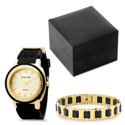 Steeltime Men S 18k Gold Plated Watch With Matching Bracelet Promotion