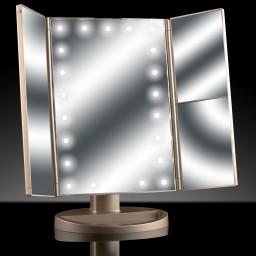 Ad042 Asani Tri Fold Lighted Magnification Makeup Mirror W