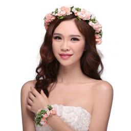 Valdler flower wreath garland halo with floral wrist band for image 0 izmirmasajfo
